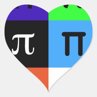 Adesivo Coração dia feliz do pi do colorblock
