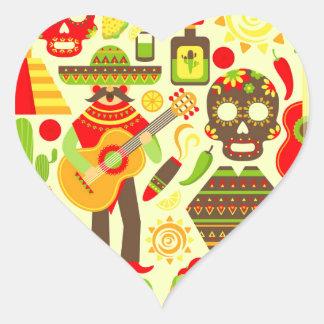 Adesivo Coração Dia mexicano do México inoperante