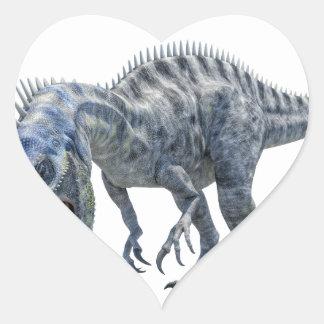 Adesivo Coração Dinossauro de Suchomimus que come um tubarão