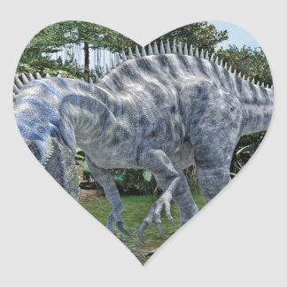 Adesivo Coração Dinossauro de Suchomimus que come um tubarão em um