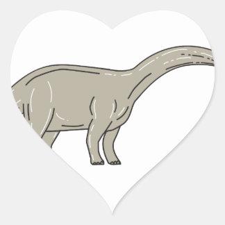 Adesivo Coração Dinossauro do Brontosaurus que olha abaixo da mono