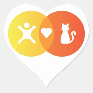 Adesivo Coração Do coração dos gatos pessoas do diagrama de Venn