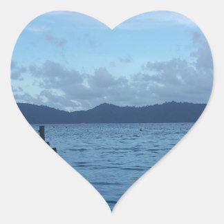 Adesivo Coração Doca do barco da ilha