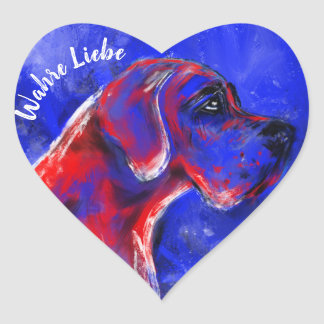 Adesivo Coração Doggenaufkleber coração vermelho azul