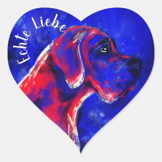 Adesivo Coração Doggenaufkleber lassa coração vermelho azul