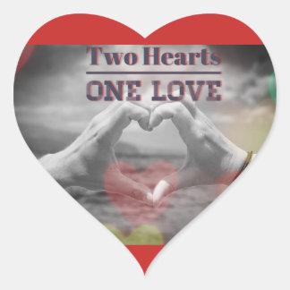 Adesivo Coração Dois corações um amor