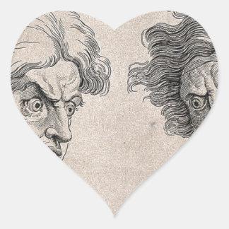 Adesivo Coração Dois desenhos das caras irritadas