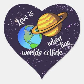 Adesivo Coração Dois mundos colidem