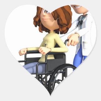 Adesivo Coração Doutor Wheeling Paciente Cadeira de rodas dos