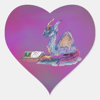 Adesivo Coração Dragão da leitura