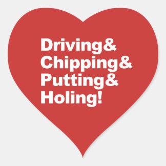 Adesivo Coração Driving&Chipping&Putting&Holing (branco)