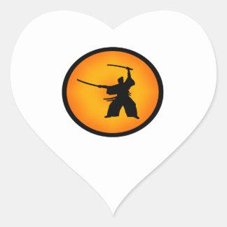 Adesivo Coração Duas espadas