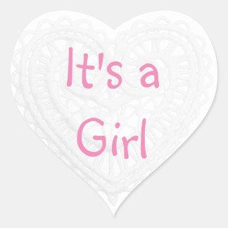 """Adesivo Coração """"É obrigado do rosa e do branco de uma menina"""""""