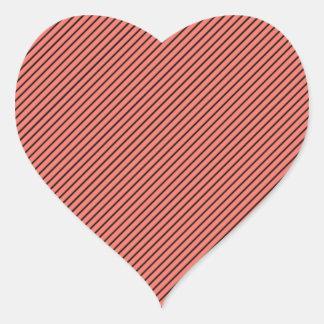 Adesivo Coração Eco do pêssego e listra preta