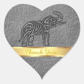 Adesivo Coração Elefante tribal de couro