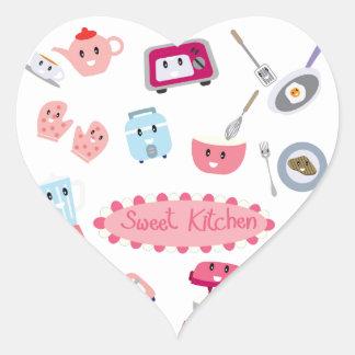 Adesivo Coração Eletricidade cor-de-rosa doce da cozinha e ícone