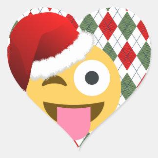Adesivo Coração emoji do piscar os olhos de Papai Noel