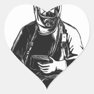 Adesivo Coração EMT que veste o terno Scratchboard de Hazmat