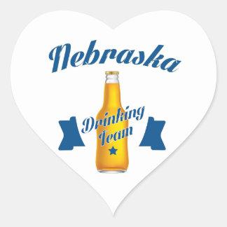 Adesivo Coração Equipe do bebendo de Nebraska