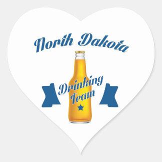 Adesivo Coração Equipe do bebendo de North Dakota