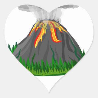 Adesivo Coração erupção e fogo do vulcão