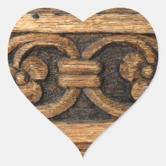 Adesivo Coração escultura de madeira do painel