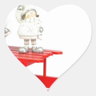 Adesivo Coração Estatuetas do Natal das crianças no trenó vermelho