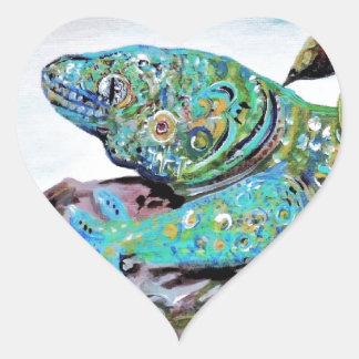 Adesivo Coração Estilo do art deco do lagarto de Nova Caledônia