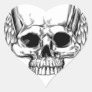 Adesivo Coração Estilo retro voado do Woodcut do vintage do crânio