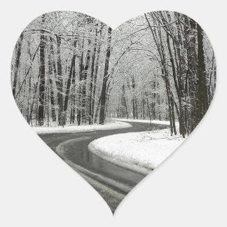Adesivo Coração Estrada de enrolamento curvada neve