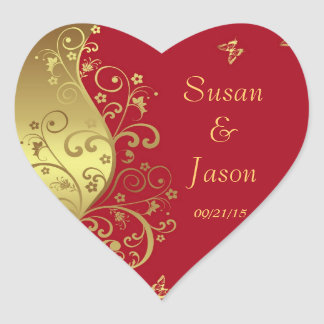 Adesivo Coração Etiquetas--Redemoinhos do vermelho & do ouro