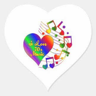 Adesivo Coração Eu amo a música 70s