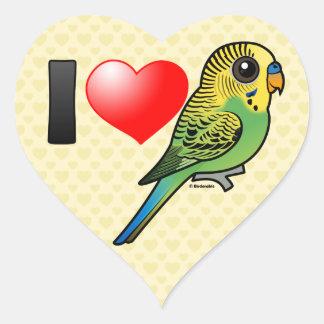 Adesivo Coração Eu amo Budgies