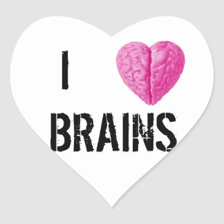 Adesivo Coração Eu amo cérebros