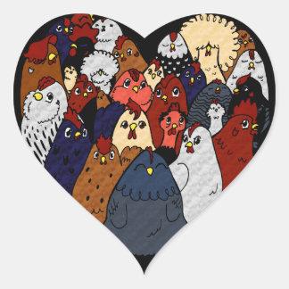 Adesivo Coração Eu amo galinhas