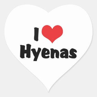 Adesivo Coração Eu amo hienas do coração