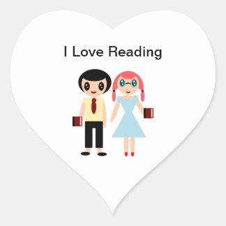 Adesivo Coração Eu amo ler