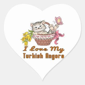 Adesivo Coração Eu amo meu angora turco