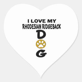 Adesivo Coração Eu amo meu design de Rhodesian RidgebackDog