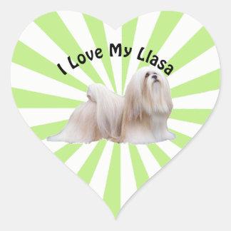 Adesivo Coração Eu amo meu Lhasa em Starburst branco