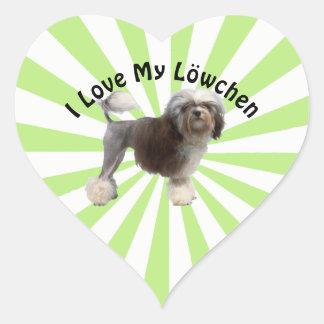 Adesivo Coração Eu amo meu Lowchen em Starburst branco