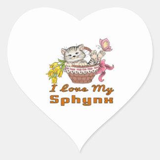 Adesivo Coração Eu amo meu Sphynx