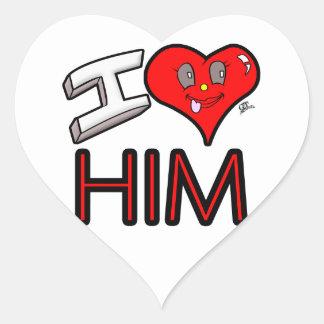 Adesivo Coração Eu amo-o com coração