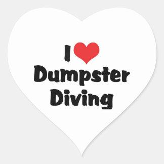 Adesivo Coração Eu amo o mergulho do contentor do coração - amante