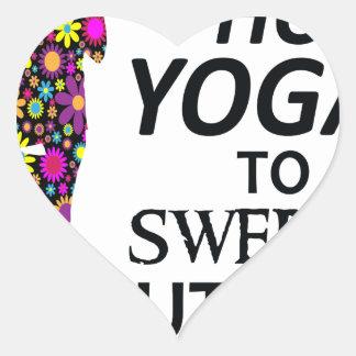Adesivo Coração Eu pratico a ioga quente para suar para fora o