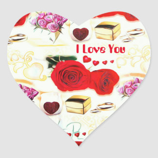 Adesivo Coração Eu te amo coração cor-de-rosa artístico de