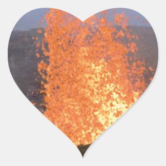 Adesivo Coração explosão do vulcão da lava