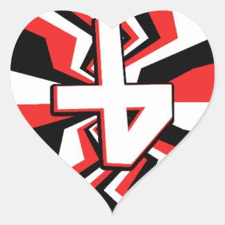 Adesivo Coração Explosão vermelha, preta, & branca do ziguezague