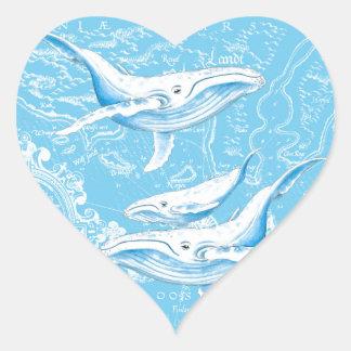 Adesivo Coração Família das baleias azuis