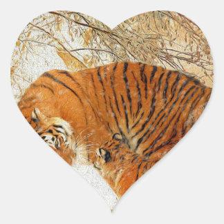 Adesivo Coração Família em um blizzard - PaintingZ do tigre